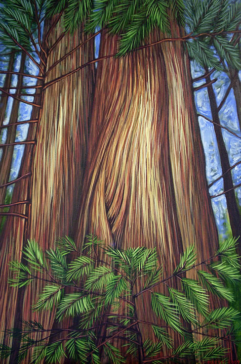 Cedar Sisters by Melanie MacVoy, Acrylic on Canvas