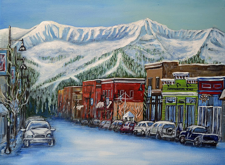 Downtown Fernie by Melanie MacVoy, Acrylic on Canvas
