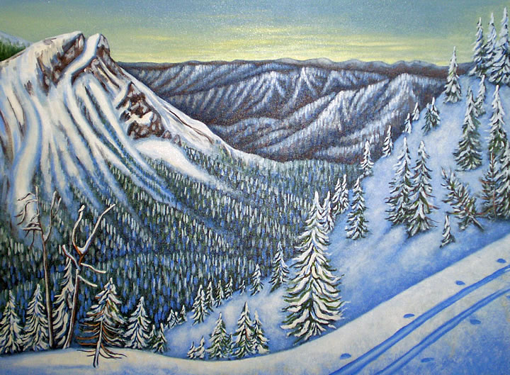 Fernie Backcountry by Melanie MacVoy, Acrylic on Canvas