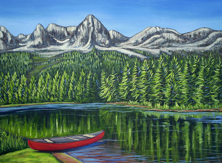 Red Canoe Island Lake by Melanie MacVoy, Acrylic on Canvas