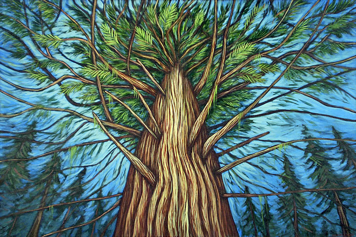 Summer's Cedar by Melanie MacVoy, Acrylic on Canvas